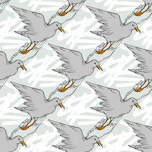 Vector Sky Bird Seagull In A Wildlife Isolated. Black And White Engraved Ink Art. Seamless Background Pattern.