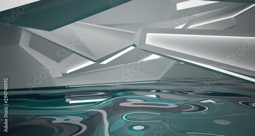 Abstract white interior with water and neon lighting. 3D illustration and rendering. - 294748892