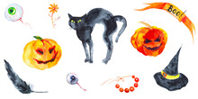 Holiday Set For Halloween, Pumpkin, Black Cat, Hat, Feather, Eye, Beads, Flower .Watercolor Illustration Isolated On White Background