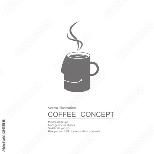 Cuadros en Lienzo Vector drawn coffee. Isolated on white background.
