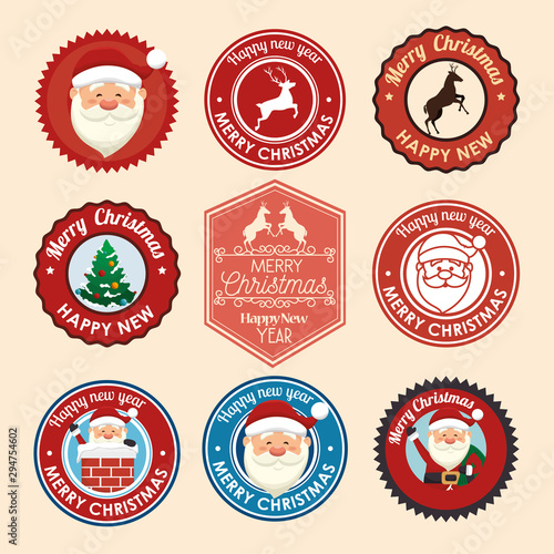 Pinturas sobre lienzo  bundle christmas seals with set icons vector illustration design