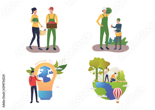 Fototapety, obrazy: Botany illustration set. People gathering harvest, presenting planet into lightbulb, planting trees in forest. Nature concept. Vector illustration for posters, presentations, landing pages