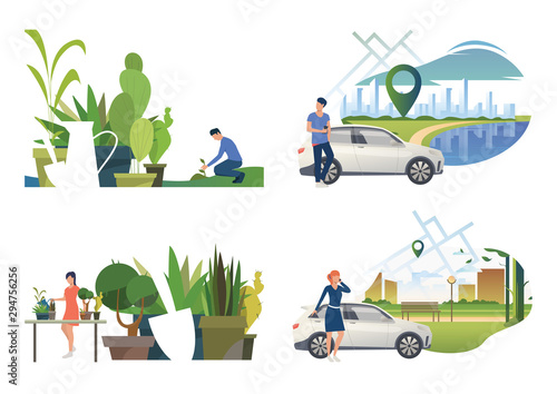 Photo sur Toile Cartoon voitures Care about plants illustration set. People watering houseplants, planting sprout outdoors, calling on phone near car. Nature concept. Vector illustration for posters, presentations, landing pages