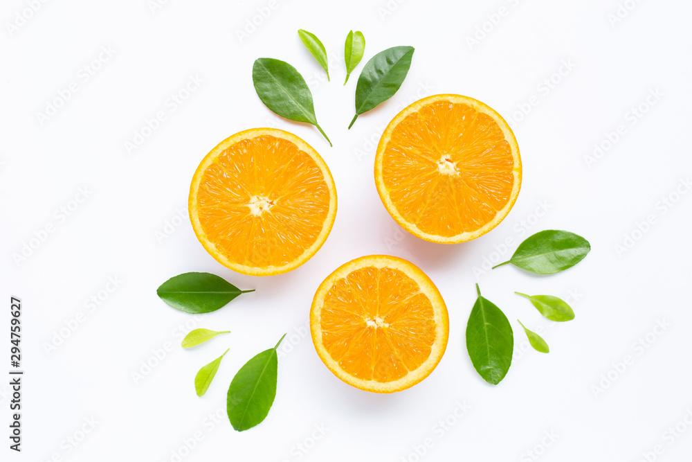 Fototapeta Fresh orange citrus fruit with leaves isolated on white background.