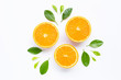 canvas print picture - Fresh orange citrus fruit with leaves isolated on white background.