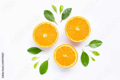 Fresh orange citrus fruit with leaves isolated on white background. - 294759627