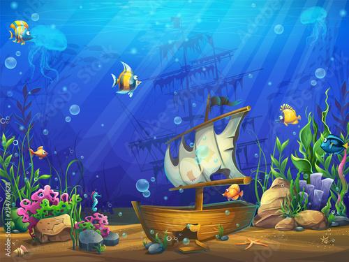 Montage in der Fensternische Dunkelblau Vector horizontal illustration of the underwater ocean with a sunken schooner