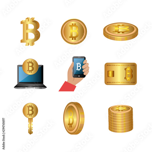 Photo  bundle of bitcoins with set icons vector illustration design