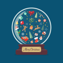 Merry Christmas Glass Ball With Christmas Decoration Elements