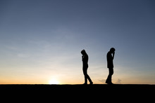 Silhouettes Of Couple Man And ...