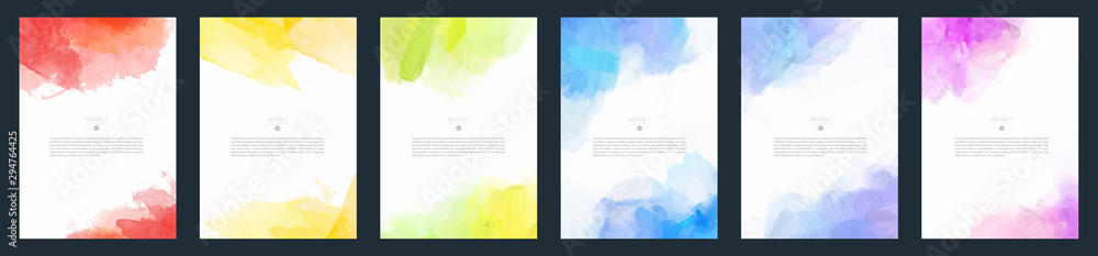 Fototapety, obrazy: Set of light colorful vector watercolor A4 backgrounds for poster, brochure or flyer