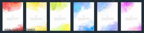 Fototapeta Set of light colorful vector watercolor A4 backgrounds for poster, brochure or flyer	 obraz