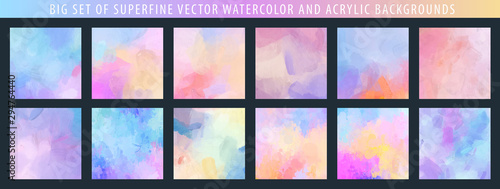 Fotomural  Big set of light pale vector colorful watercolor and acrylic backgrounds for pos