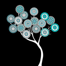 Tree With Blue Ethnic Motifs Flowers