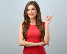 Smiling Woman In Red Dress Poi...