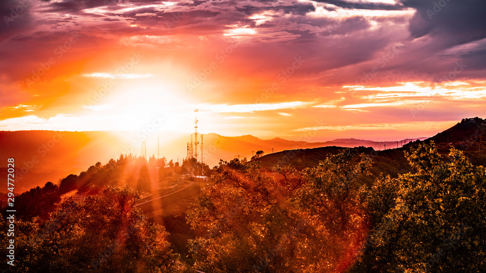 Fototapety, obrazy: Fiery sunset in the Santa Cruz mountains, on the West coast, San Francisco Bay area; California