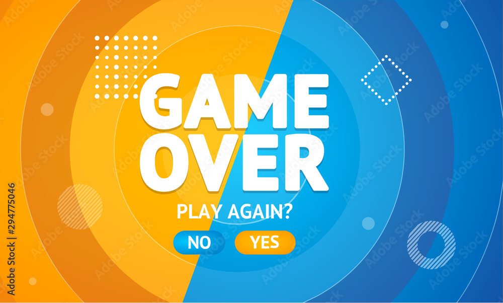 Fototapeta Game Over or Play Again Concept Banner Card. Vector