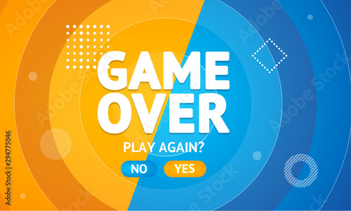 Fototapeta Game Over or Play Again Concept Banner Card. Vector obraz
