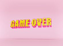 Game Over Pixel Art Text Isola...