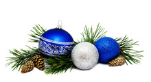 Christmas Decoration Blue And Silver Balls With Fir Cones And Fir Tree Branches Isolated