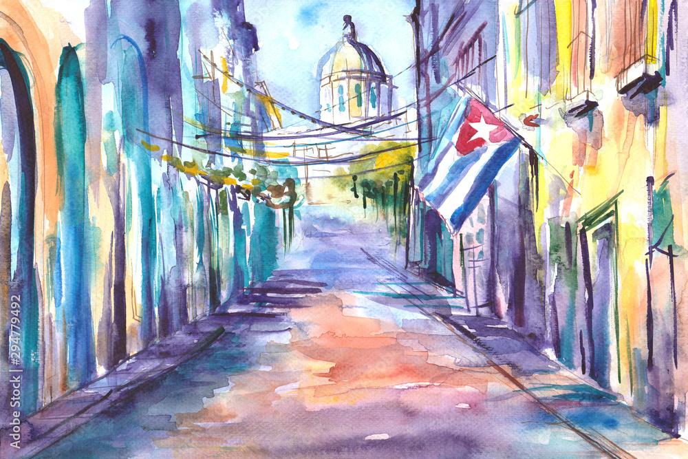 Fototapeta Obraz namalowany farbami akwarelowymi przedstawiający ulicę w Hawanie na Kubie