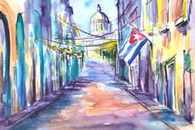 Obraz Namalowany Farbami Akwarelowymi Przedstawiający Ulicę W Hawanie Na Kubie