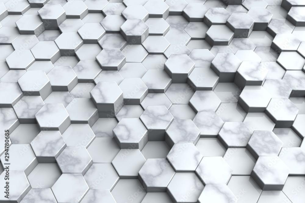 White Marble honeycomb background, 3D illustration.