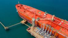 Aerial View Of Oil Tanker Ship, Red Oil Tanker Ship.