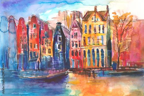Widok na kamienice i kanał w Amsterdamie namalowany ręcznie farbami akwarelowymi - fototapety na wymiar