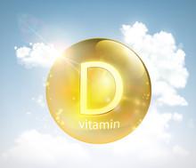 Pill Vitamin D Against The Sky...
