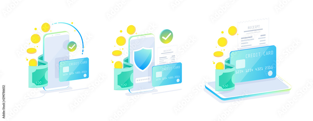Fototapeta Online Mobile Banking and Internet banking isometric design concept , Cashless society, security transaction via credit card. Set of online payment for web design template vector