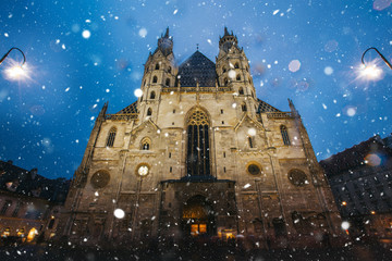 St. Stephen's Cathedral in snow at dawn. - Vienna travel image.