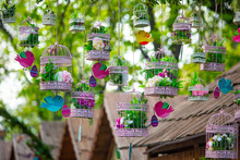 Easter Decoration Birds With Eggs And Flowers