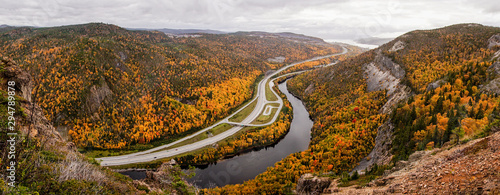 Fotografia Yellow, Orange and Red trees in a forest during Autumn / Fall Season in Corner Brook, Newfoundland, Canada