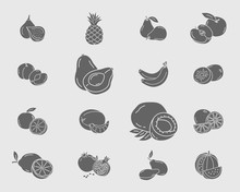 Fruit Icons Set - Vector Solid...