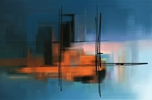 Colorful Abstract Oil Painting. Surreal Landscape Artwork In Contemporary Style.