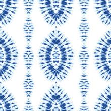 Monochrome Indigo Bright Tie-Dye Shibori Diamonds Vertical Stripes On White Background Vector Seamless Pattern