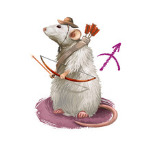 Sagittarius Creative Digital Illustration Of Astrological Sign. Rat Or Mouse Symboll Of 2020 Year Signs In Zodiac. Horoscope Fire Element. Logo Sign With Archer. Graphic Design Clip Art For Web Print