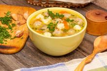 Soup With Meatballs And Dumpli...