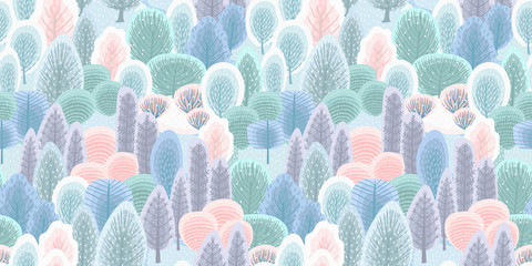 Abstract seamless pattern with winter forest. Vector background for various surface.