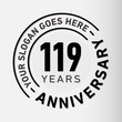 119 years anniversary logo template. One hundred and nineteen years celebrating logotype. Vector and illustration.