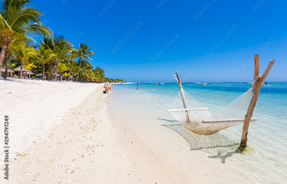 Fototapety, obrazy: tropical beach in Mauritius, Morne Brabant