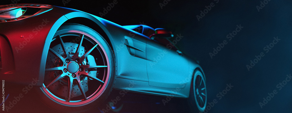 Obraz Modern cars are in the studio room. fototapeta, plakat