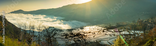 Foto auf Gartenposter Reisfelder Panoramic view Terraced rice fields of YuanYang , China with beautiful sun rise