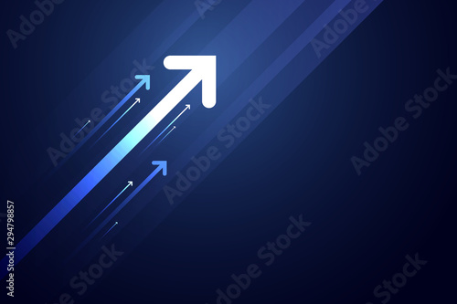 Photo Light arrow up on blue background illustration, business growth concept