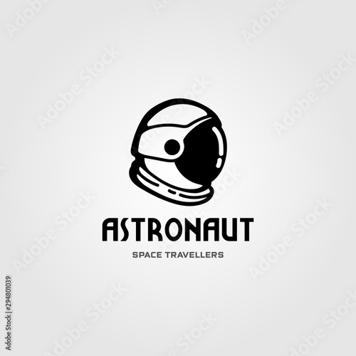 Fotomural astronaut helmet space travel logo vector design illustration