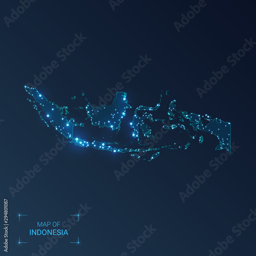 Fotografía Indonesia map with cities