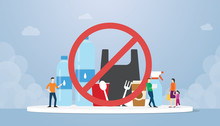 Stop Plastic Campaign With Various Bottles Plastics And Other With Team People And Ban Symbol With Modern Flat Style - Vector