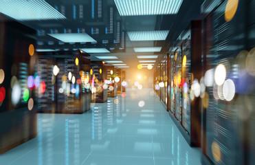 Servers data center room with bright bokeh light going through the corridor 3D rendering