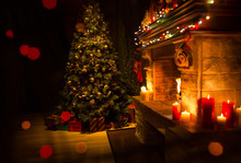 Christmas Decorated Interior W...